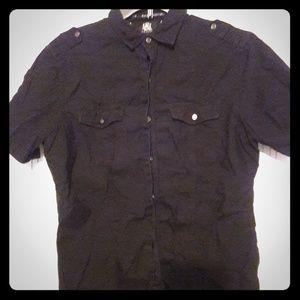 Rock & Republic Shirts - Rock & Republic - black short-sleeved button down